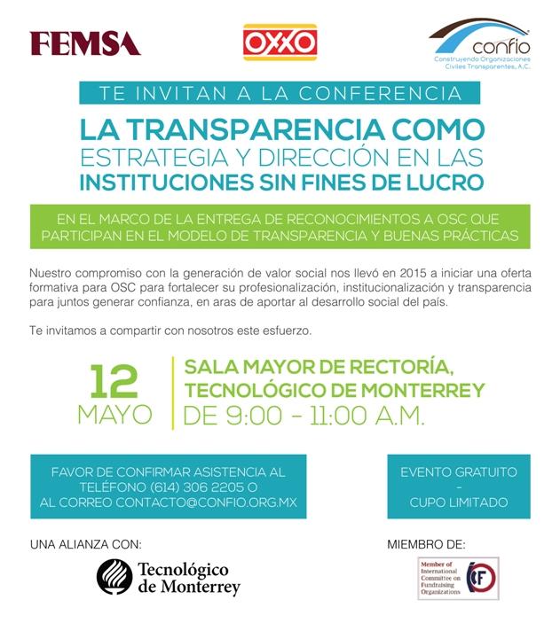 Confío, Femsa y OXXO reconocerán en Monterrey a OSC el 12 de mayo de 2016