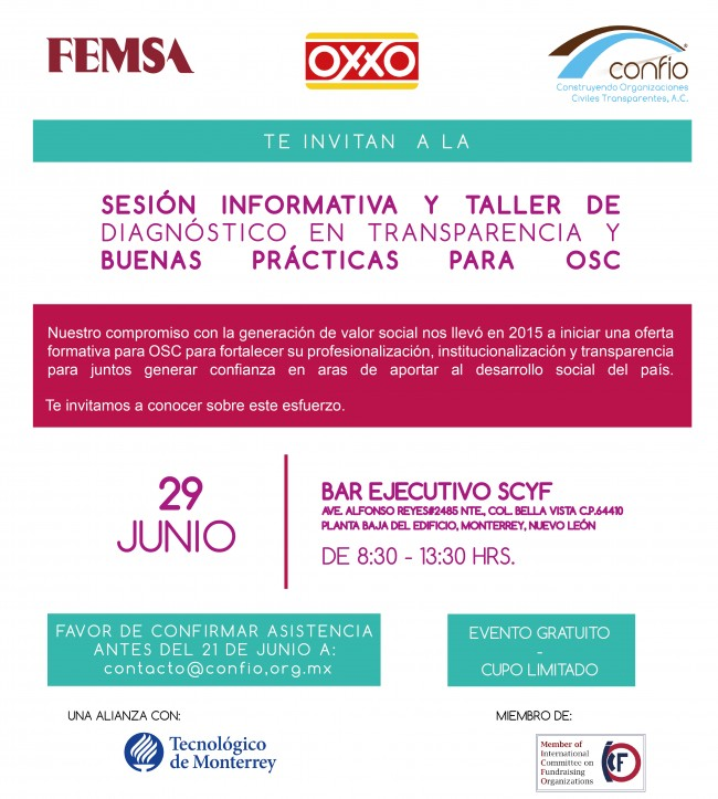 Invitación Confío, OXXO y Femsa Taller