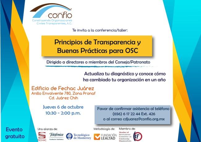 Invitación taller de diagnóstico en Ciudad Juárez Confío
