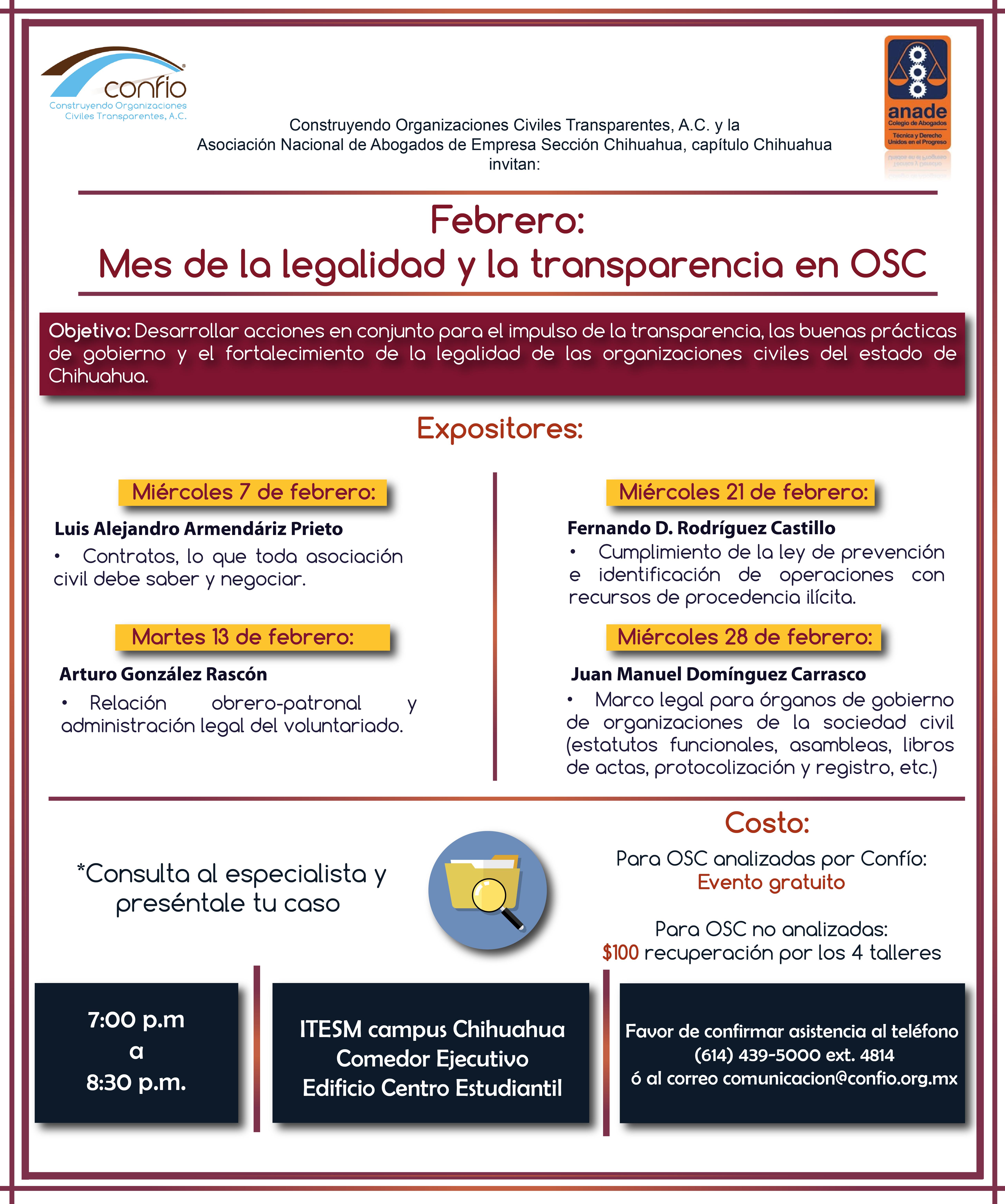 Mes de la legalidad y transparencia en OSC
