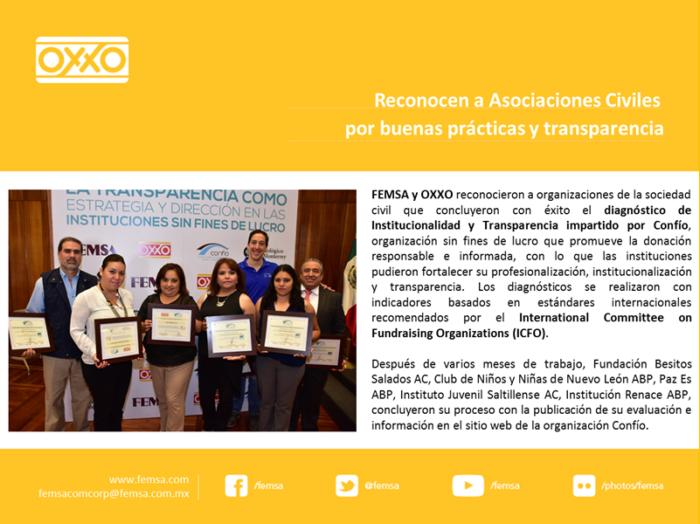 Femsa, OXXO y Confío reconocieron a OSC en Monterrey