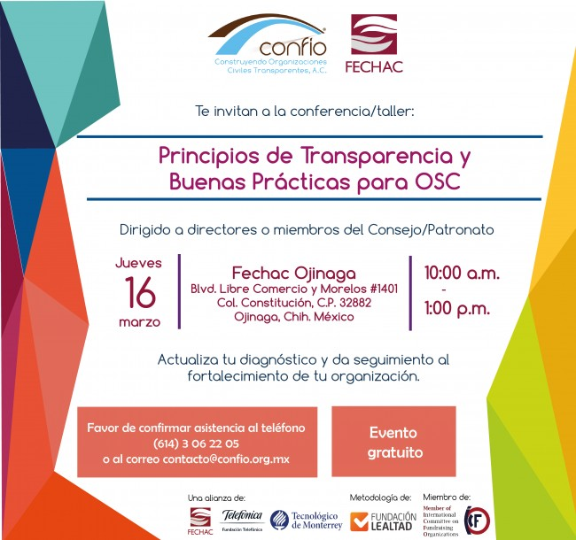 Invitación de Fechac y Confío Ojinaga marzo 2017